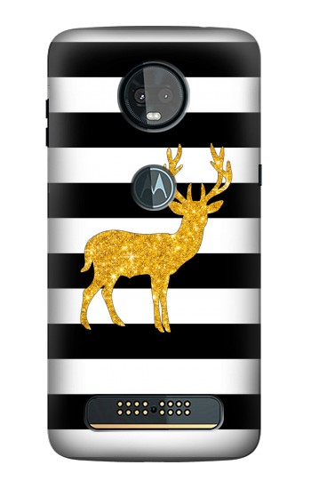 Printed Black and White Striped Deer Gold Sparkles Motorola Moto Z3, Z3 Play Case