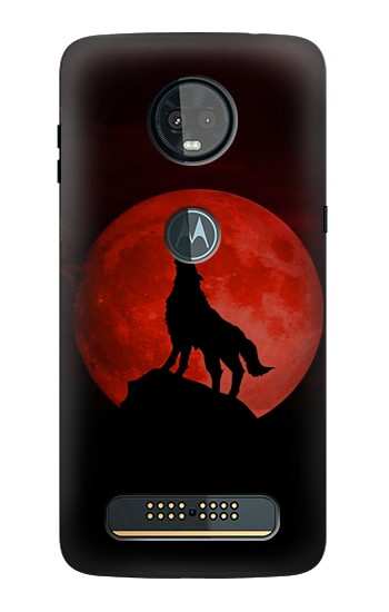 Printed Wolf Howling Red Moon Motorola Moto Z3, Z3 Play Case