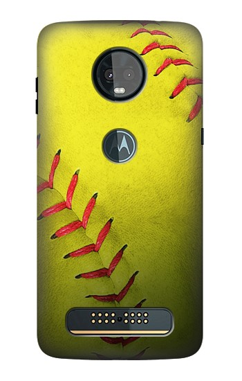 Printed Yellow Softball Ball Motorola Moto Z3, Z3 Play Case
