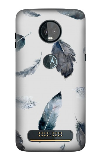Printed Feather Paint Pattern Motorola Moto Z3, Z3 Play Case