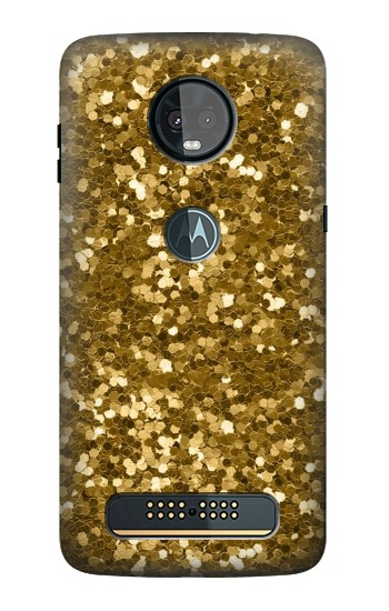 Printed Gold Glitter Graphic Print Motorola Moto Z3, Z3 Play Case