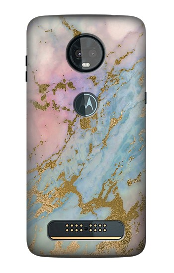 Printed Rose Gold Blue Pastel Marble Graphic Printed Motorola Moto Z3, Z3 Play Case