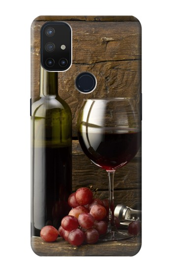 Printed Grapes Bottle and Glass of Red Wine OnePlus Nord N10 5G Case