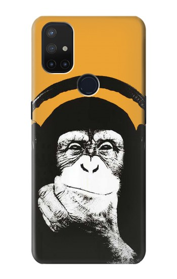 Printed Funny Monkey with Headphone Pop Music OnePlus Nord N10 5G Case