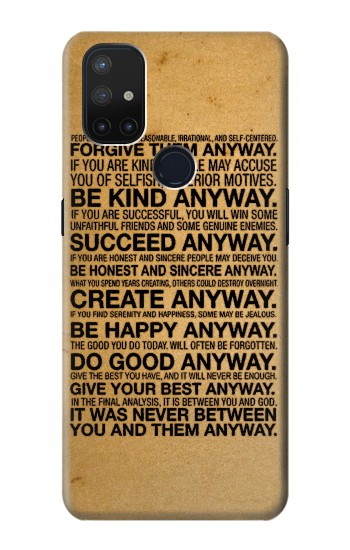 Printed Mother Teresa Anyway Quotes OnePlus Nord N10 5G Case