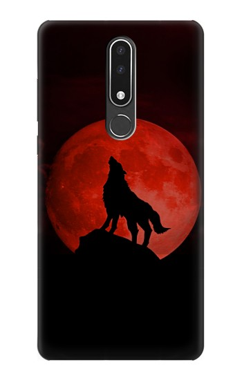 Printed Wolf Howling Red Moon Nokia 3.1 plus Case