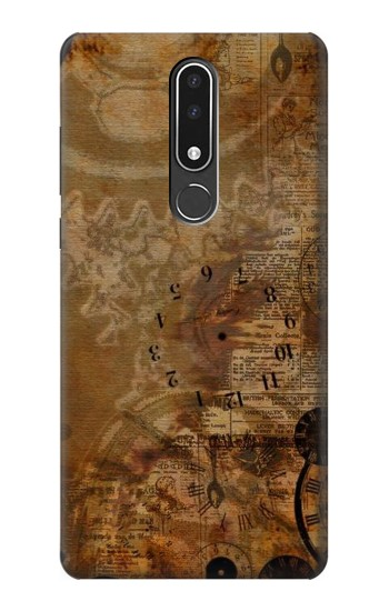 Printed Vintage Paper Clock Steampunk Nokia 3.1 plus Case