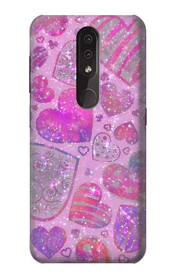 Printed Pink Love Heart Nokia 4.2 Case