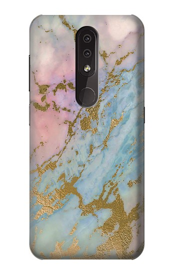 Printed Rose Gold Blue Pastel Marble Graphic Printed Nokia 4.2 Case