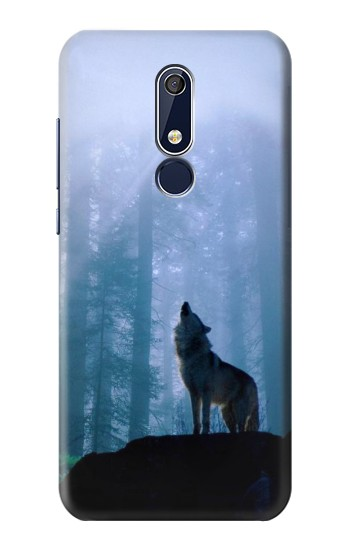 Printed Wolf Howling in Forest Nokia 5.1 Case