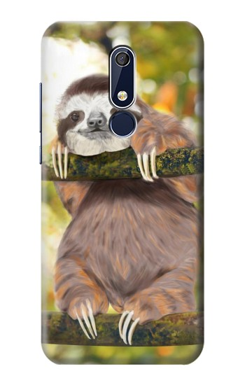 Printed Cute Baby Sloth Paint Nokia 5.1 Case