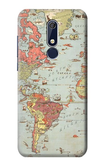Printed Vintage World Map Nokia 5.1 Case