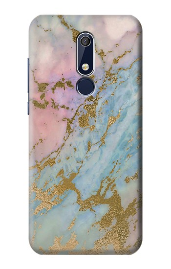 Printed Rose Gold Blue Pastel Marble Graphic Printed Nokia 5.1 Case
