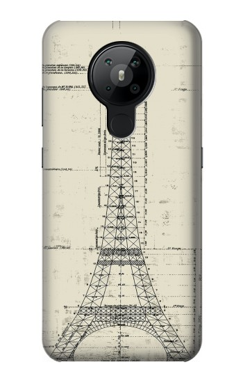 Printed Eiffel Architectural Drawing Nokia 5.3 Case
