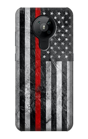 Printed Firefighter Thin Red Line American Flag Nokia 5.3 Case