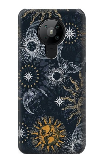 Printed Moon and Sun Nokia 5.3 Case