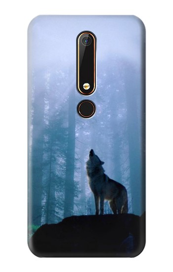 Printed Wolf Howling in Forest Nokia 6.1 Case
