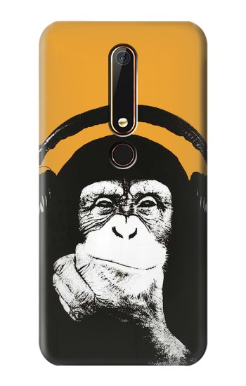 Printed Funny Monkey with Headphone Pop Music Nokia 6.1 Case