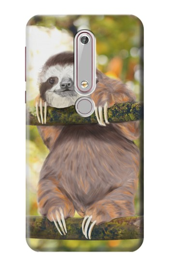 Printed Cute Baby Sloth Paint Nokia 6 (2018) Case
