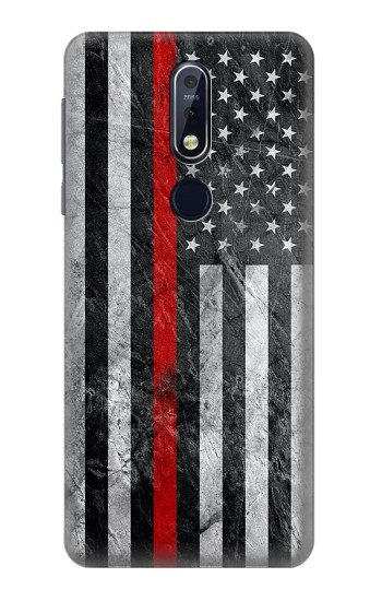 Printed Firefighter Thin Red Line American Flag Nokia 7.1 Case