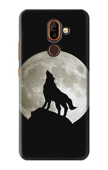 Printed Wolf Howling at The Moon Nokia 7 plus Case