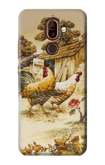 Printed French Country Chicken Nokia 7 plus Case