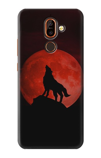 Printed Wolf Howling Red Moon Nokia 7 plus Case