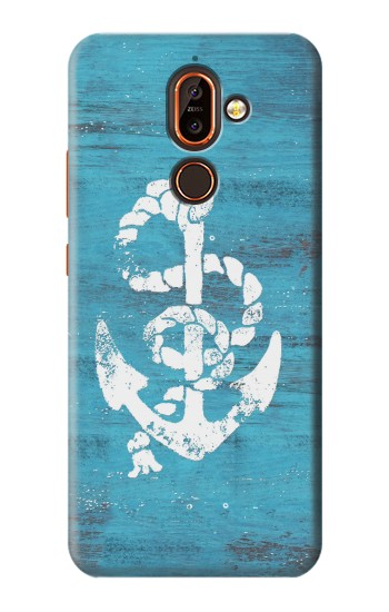 Printed Marine Anchor Blue Wooden Nokia 7 plus Case