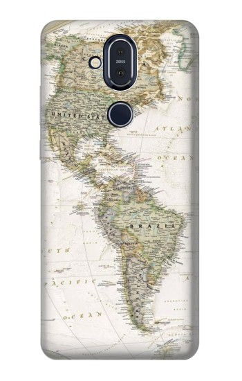 Printed World Map Nokia 8.1, Nokia X7 Case