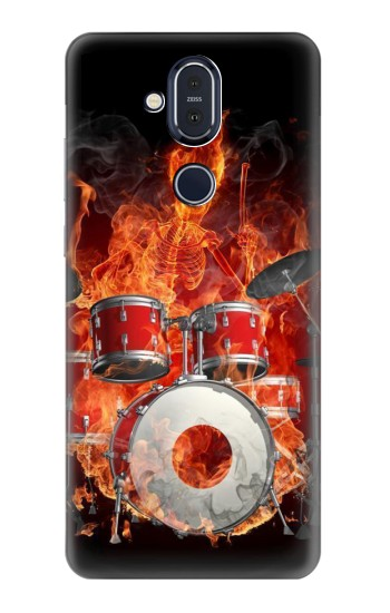 Printed Skull Drum Fire Rock Nokia 8.1, Nokia X7 Case
