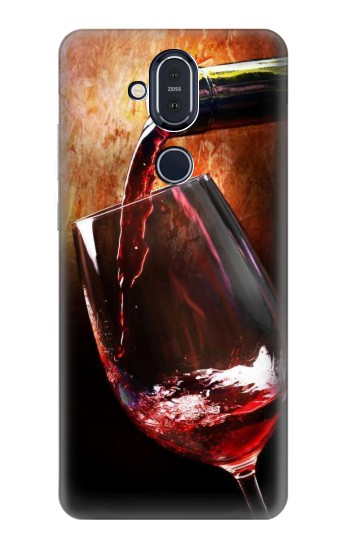 Printed Red Wine Bottle And Glass Nokia 8.1, Nokia X7 Case
