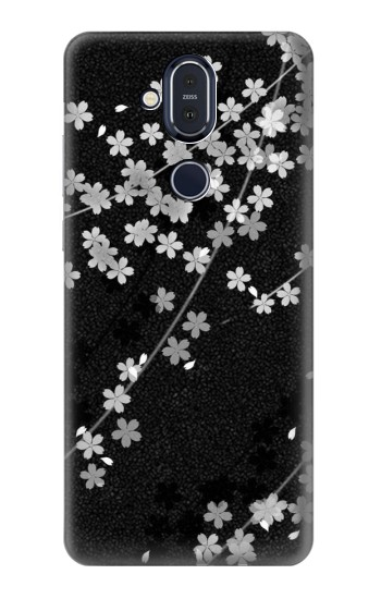 Printed Japanese Style Black Flower Pattern Nokia 8.1, Nokia X7 Case