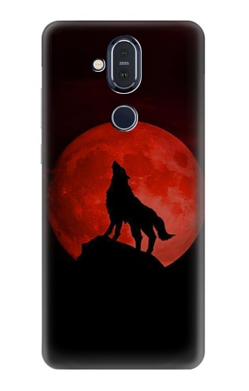 Printed Wolf Howling Red Moon Nokia 8.1, Nokia X7 Case