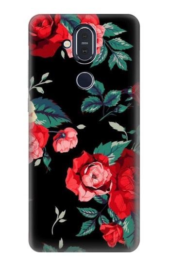 Printed Rose Floral Pattern Black Nokia 8.1, Nokia X7 Case