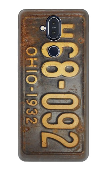 Printed Vintage Car License Plate Nokia 8.1, Nokia X7 Case
