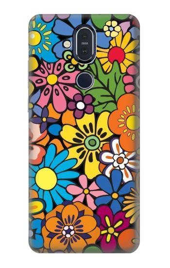 Printed Colorful Flowers Pattern Nokia 8.1, Nokia X7 Case