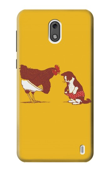 Printed Rooster and Cat Joke Nokia 2 Case