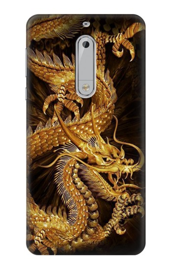 Nokia 5 Chinese Gold Dragon Printed Case Cover