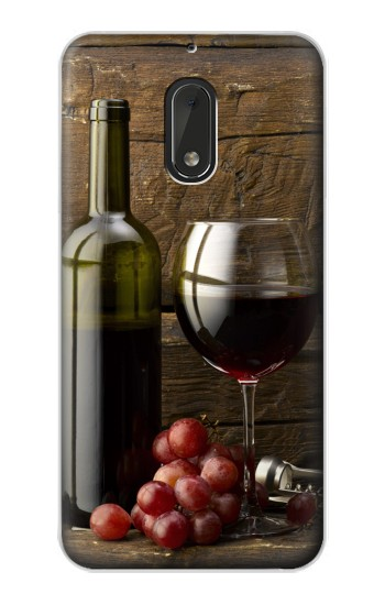 Printed Grapes Bottle and Glass of Red Wine Nokia Lumia 1320 Case