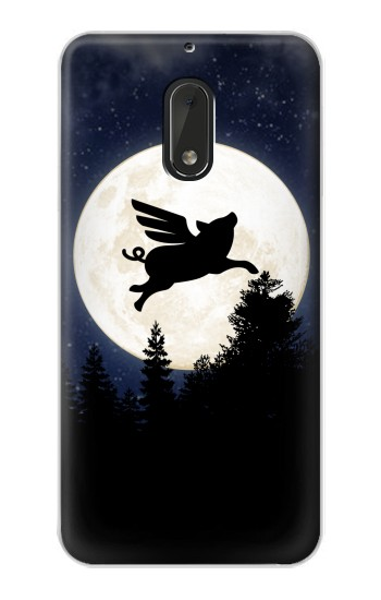 Printed Flying Pig Full Moon Night Nokia Lumia 1320 Case