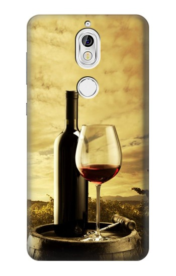 Printed A Grape Vineyard Grapes Bottle and Glass of Red Wine Nokia 7 Case