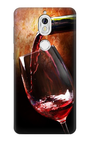 Printed Red Wine Bottle And Glass Nokia 7 Case