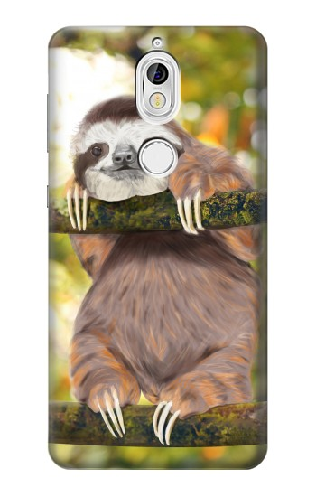 Printed Cute Baby Sloth Paint Nokia 7 Case