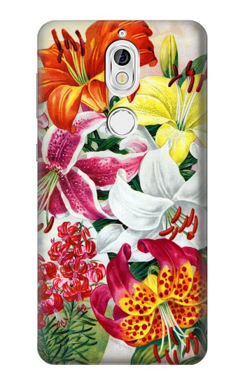 Printed Retro Art Flowers Nokia 7 Case