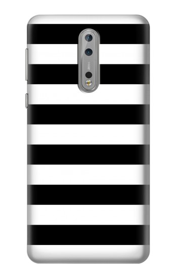 Printed Black and White Striped Nokia Lumia 1520 Case