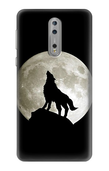 Printed Wolf Howling at The Moon Nokia Lumia 1520 Case