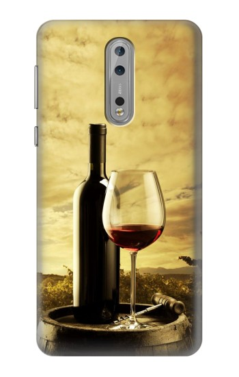 Printed A Grape Vineyard Grapes Bottle and Glass of Red Wine Nokia Lumia 1520 Case
