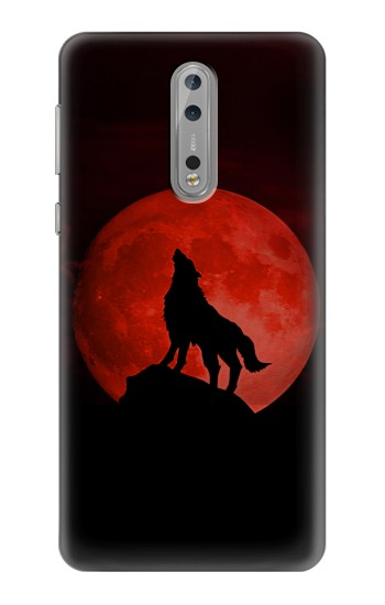 Printed Wolf Howling Red Moon Nokia Lumia 1520 Case
