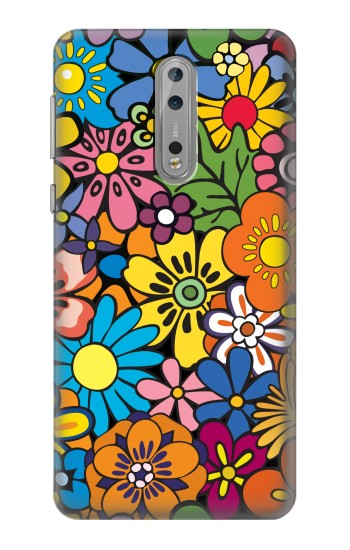 Printed Colorful Flowers Pattern Nokia Lumia 1520 Case
