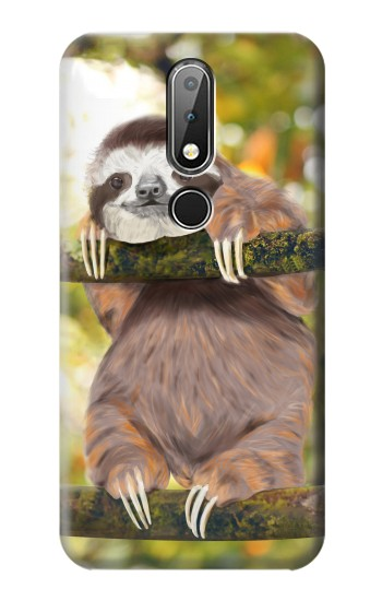 Printed Cute Baby Sloth Paint Nokia X6 Case